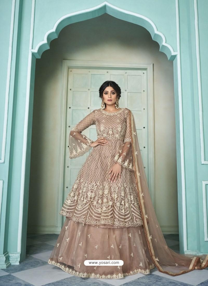 Light Brown Butterfly Net Designer Party Wear Wedding Lehenga Suit