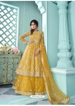 Yellow Butterfly Net Designer Party Wear Wedding Lehenga Suit