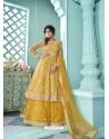 Yellow Butterfly Net Designer Party Wear Wedding Lehenga Suit
