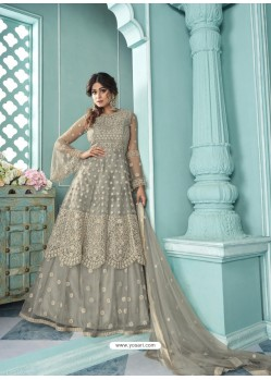Grey Butterfly Net Designer Party Wear Wedding Lehenga Suit