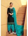 Black Designer Party Wear Jam Silk Cotton Punjabi Patiala Suit