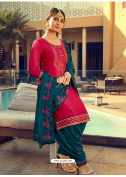 Rose Red Designer Party Wear Jam Silk Cotton Punjabi Patiala Suit