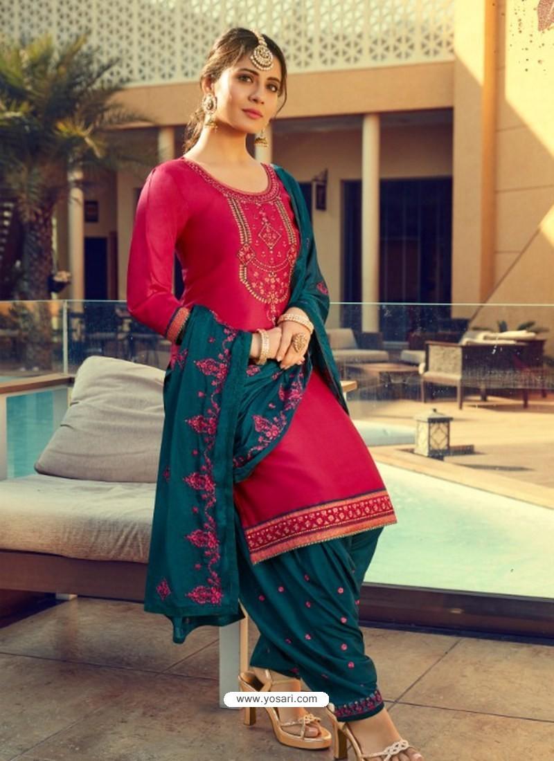 Rose Red Designer Party Wear Jam Silk Cotton Punjabi Patiala Suit