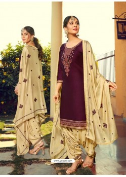 Purple Designer Party Wear Jam Silk Cotton Punjabi Patiala Suit