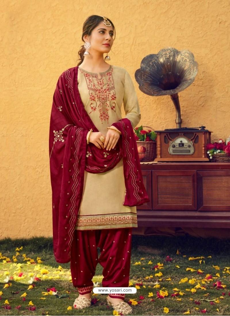 Cream Designer Party Wear Jam Silk Cotton Punjabi Patiala Suit