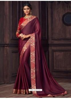 Deep Wine Latest Designer Party Wear Silk Sari