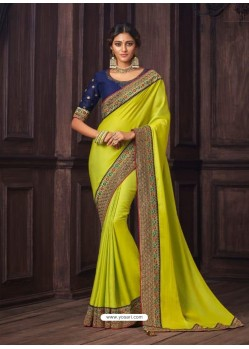Lemon Latest Designer Party Wear Silk Sari