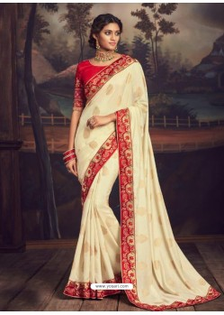 Off White Latest Designer Party Wear Silk Sari