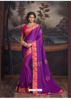 Lavender Latest Designer Party Wear Silk Sari