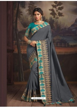 Grey Latest Designer Party Wear Silk Sari