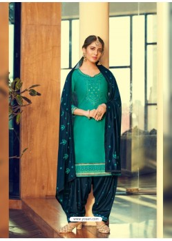 Aqua Mint Designer Party Wear Jam Silk Cotton Punjabi Patiala Suit