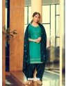 Aqua Mint Designer Party Wear Jam Silk Cotton Punjabi Patiala Suit