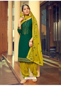 Dark Green Designer Party Wear Jam Silk Cotton Punjabi Patiala Suit