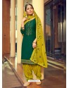 Dark Green Designer Party Wear Jam Silk Cotton Punjabi Patiala Suit