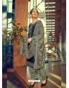Navy Blue Designer Party Wear Jam Silk Cotton Punjabi Patiala Suit