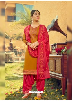 Mustard Designer Party Wear Jam Silk Cotton Punjabi Patiala Suit