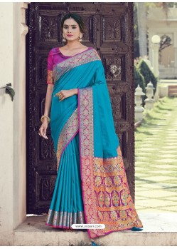 Blue Latest Designer Party Wear Silk Sari