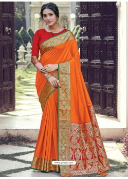 Orange Latest Designer Party Wear Silk Sari