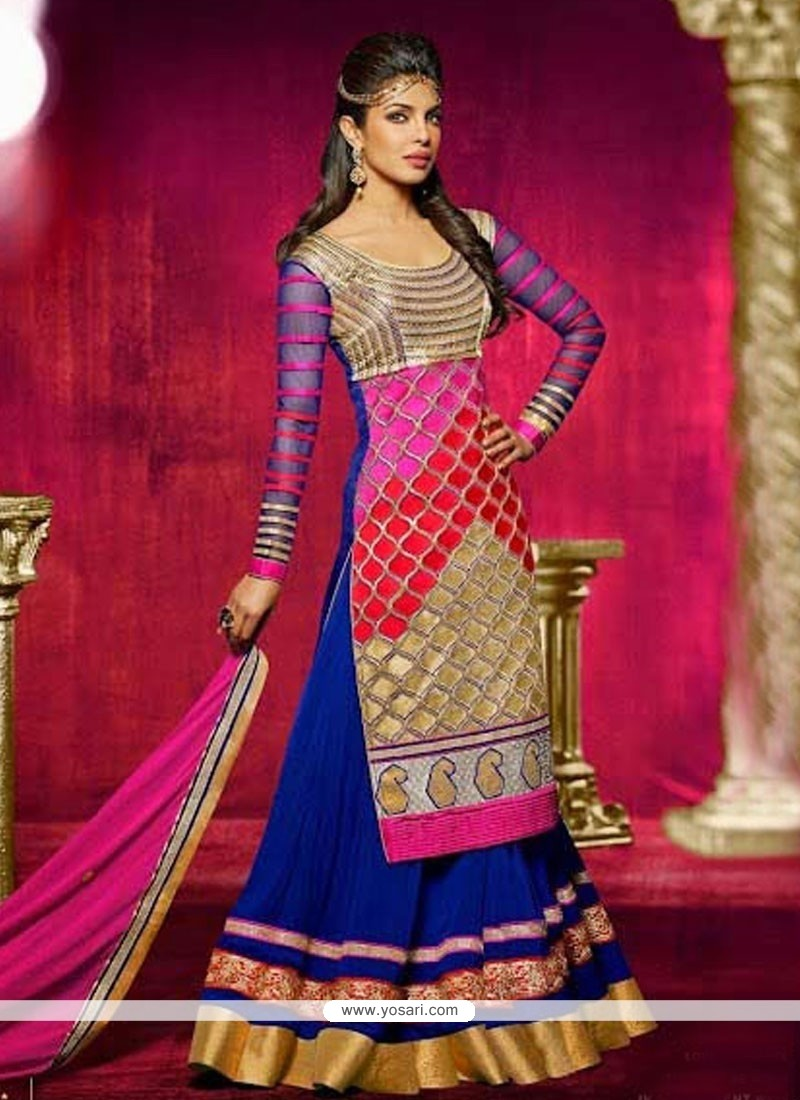 Priyanka Chopra Blue And Pink Bhagalpuri Silk Anarkali Suit