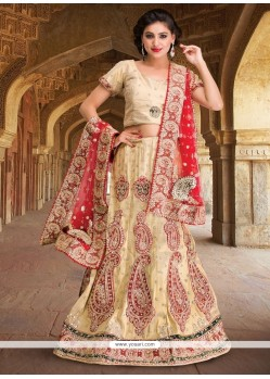 Charismatic Net Cream Resham Work A Line Lehenga Choli