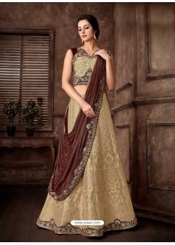 Gold Scintillating Designer Fancy Party Wear Lehenga Style Sari