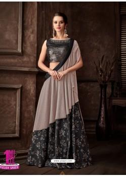 Dark Grey Scintillating Designer Fancy Party Wear Lehenga Style Sari