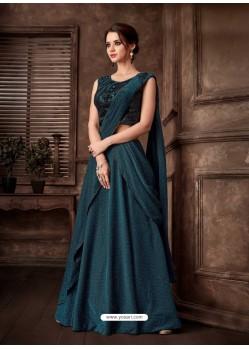 Teal Blue Scintillating Designer Fancy Party Wear Lehenga Style Sari