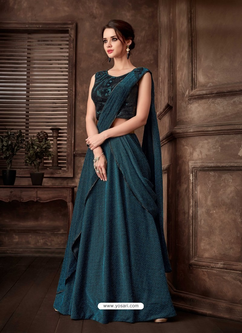Teal Blue Scintillating Designer Fancy Party Wear Lehenga Style Sari