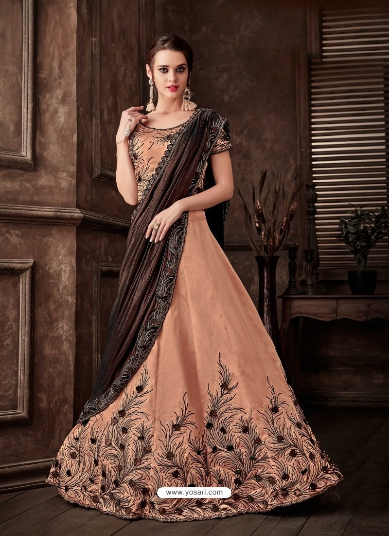 Light Orange Scintillating Designer Fancy Party Wear Lehenga Style Sari