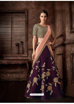 Purple Scintillating Designer Fancy Party Wear Lehenga Style Sari