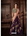 Purple Scintillating Designer Fancy Party Wear Lehenga Style Sari