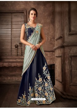 Navy Blue Scintillating Designer Fancy Party Wear Lehenga Style Sari