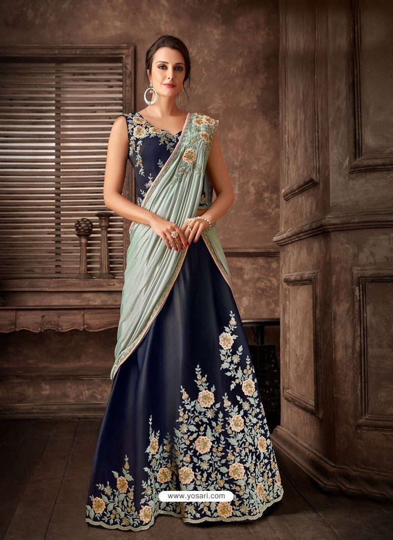 Navy Blue Scintillating Designer Fancy Party Wear Lehenga Style Sari