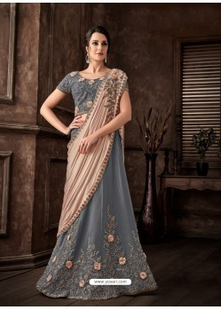 Aqua Grey Scintillating Designer Fancy Party Wear Lehenga Style Sari