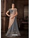 Aqua Grey Scintillating Designer Fancy Party Wear Lehenga Style Sari