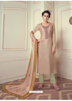 Light Beige Designer Readymade Straight Salwar Suit