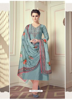 Aqua Grey Designer Readymade Straight Salwar Suit