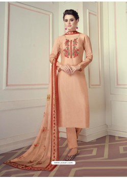 Light Orange Designer Readymade Straight Salwar Suit