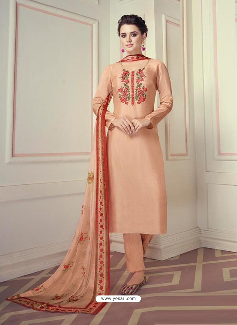 Light Orange Designer Readymade Straight Salwar Suit
