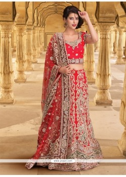 Cute Net Red A Line Lehenga Choli