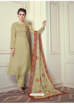 Green Designer Readymade Straight Salwar Suit