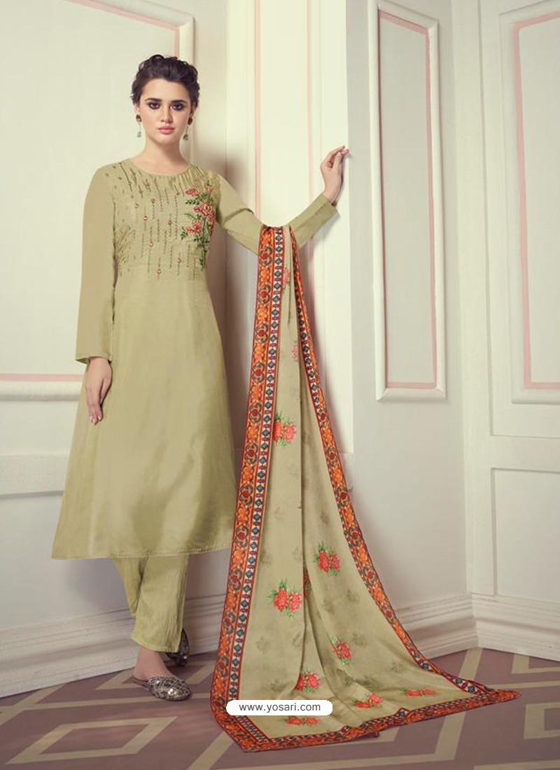 Green Designer Readymade Straight Salwar Suit