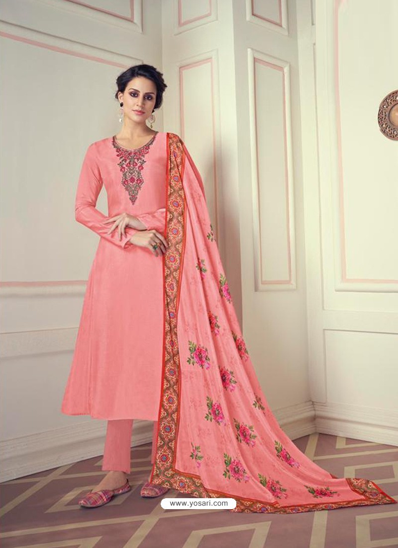 Peach Designer Readymade Straight Salwar Suit