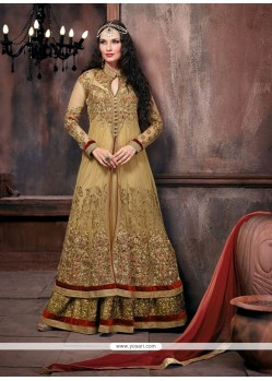 Beige Net Floor Length Designer Salwar Suit