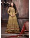 Beige Net Floor Length Designer Salwar Suit