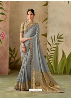 Grey Latest Designer Traditional Party Wear Silk Sari