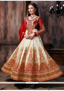Spectacular White Georgette Floor Length Anarkali Suit
