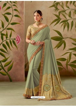 Grayish Green Latest Designer Traditional Party Wear Silk Sari