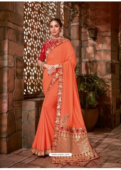 Orange Latest Designer Traditional Party Wear Silk Sari