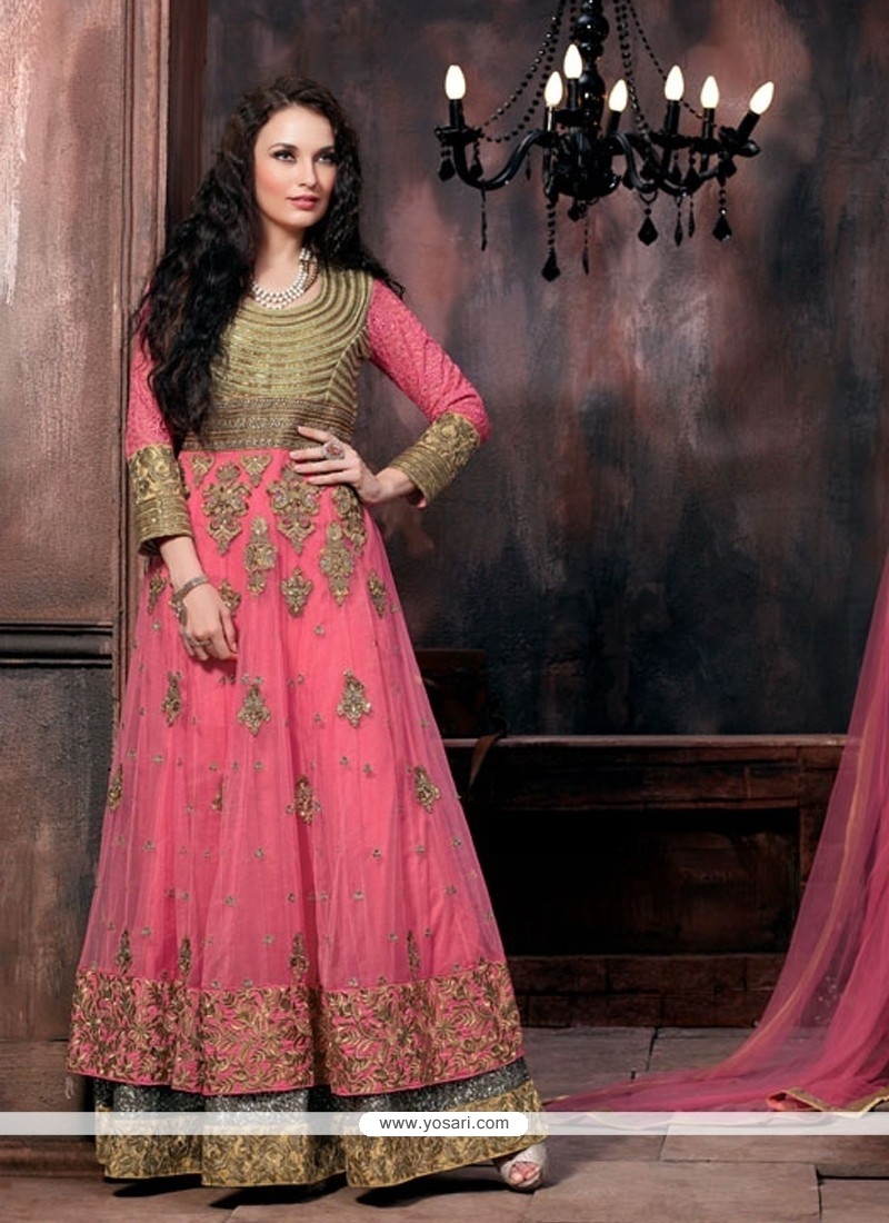Winsome Hot Pink Floor Length Anarkali Salwar Suit